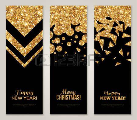 bonne année: Vertical Retour et Or Banners Set, Greeting Card Design. Or Foil formes géométriques. Vector Illustration. Happy New Year Invitation de modèle d'affiche. Merry Salutations de saison de Noël. Illustration