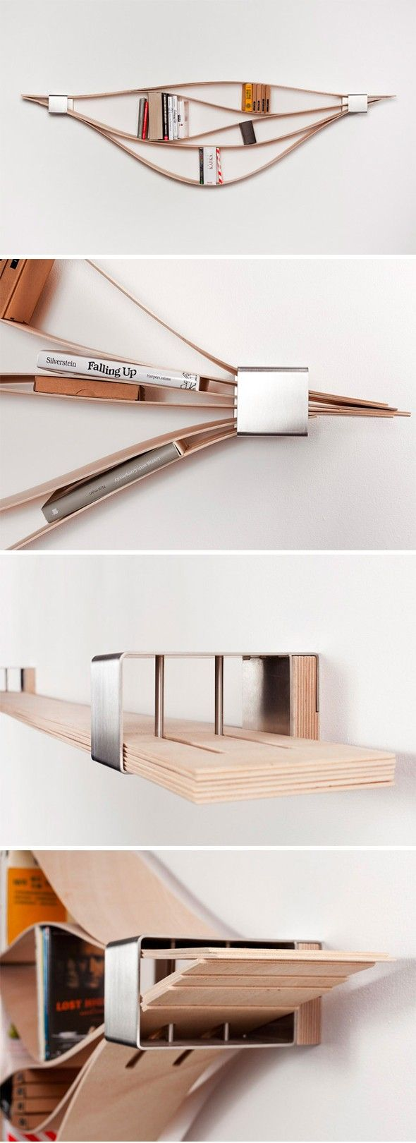 Chuck by Natascha Harra-Frischkorn. Chuck is an amazing concept of wall shelf, made by the German designer  Natascha Harra-Frischkorn . The set consists of six wooden planks 4mm thick, which can be adjusted to accommodate small collections of books or objects.