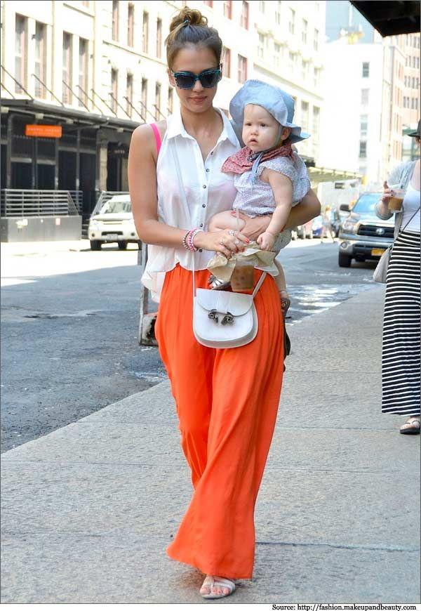 Jessica Alba in Orange Maxi Skirt  #Maxiskirt #Jessicaalba