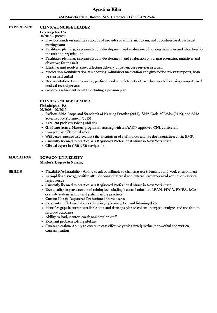 Clinical Nurse Leader Resume Samples Velvet Jobs in 2020