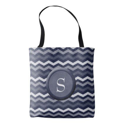 Shades of Blue Chevron with Monogram Tote Bag - monogram gifts unique design style monogrammed diy cyo customize