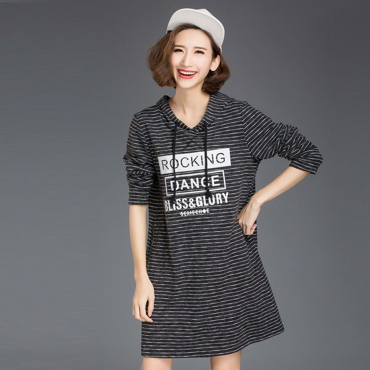 2016Autumn women hooded long sweatshirt letter printed stripe knitted dress  hoodies big size vestido plus size