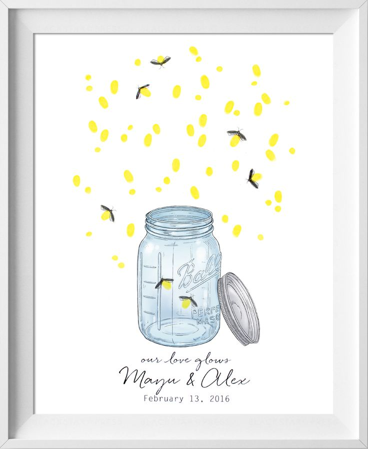 Mason Jar finger print tree guest book! So cute for vintage or rustic themed weddings. Your fingerprints create the fireflies!