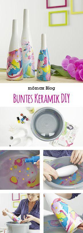 Buntes Keramik einfach selber machen mit Nagellack! DIY, Nail polish                                                                                                                                                                                 Mehr