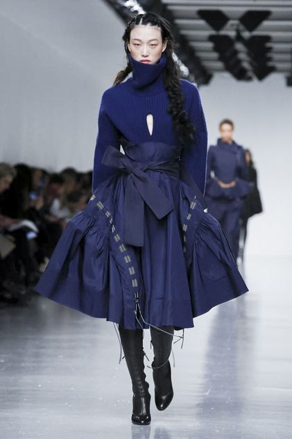 Was it single-breasted or was it double-breasted at Berardi? The designer combined the two design structures for standout jackets among this collection, which explored fitted waists and billowing s...
