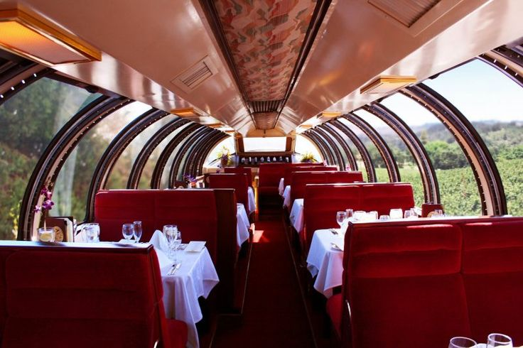 The Napa Valley Wine Train Vista Dome car is an elevated observation dining car, offering wide vistas of the Napa landscape & glimpses into wineries.