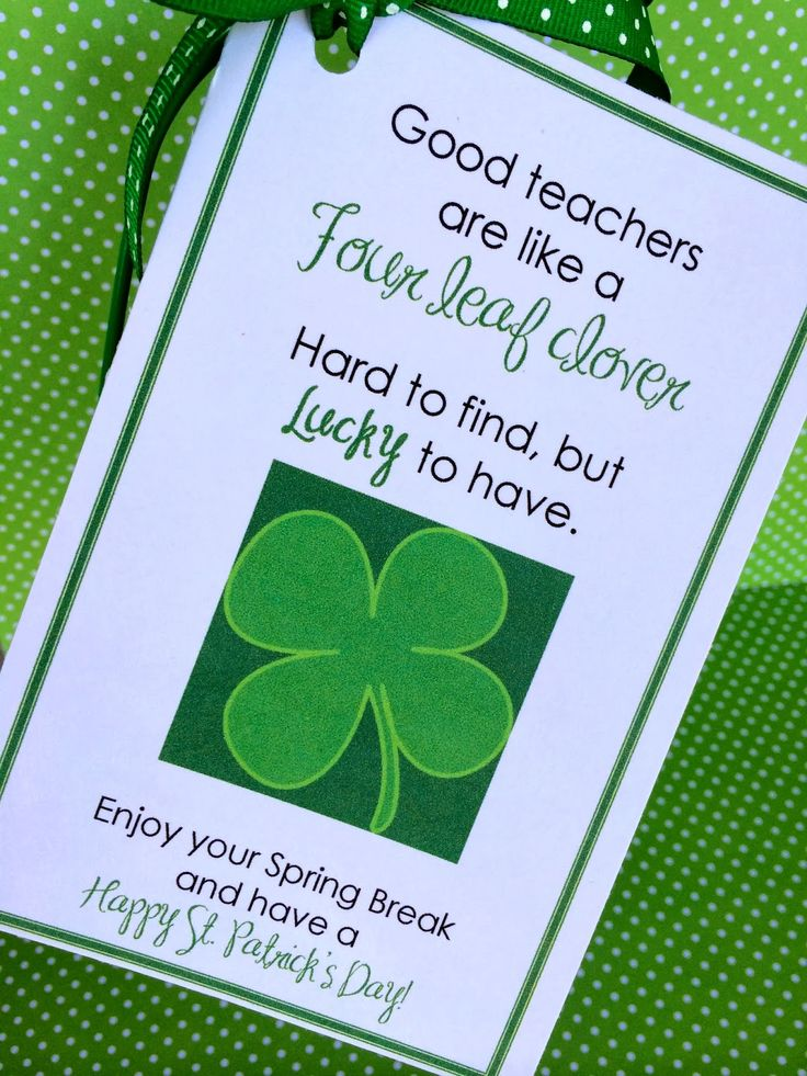 Marci Coombs: St. Patrick's Day Teacher Gift. Free download.