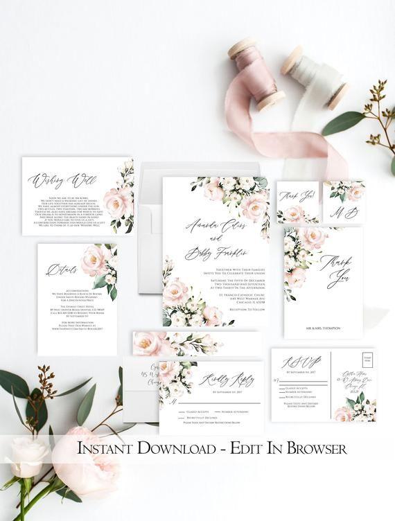 White Floral Wedding Invitation Set Printable Editable Etsy Floral Wedding Invitations Wedding Invitation Sets Wedding Invitation Templates