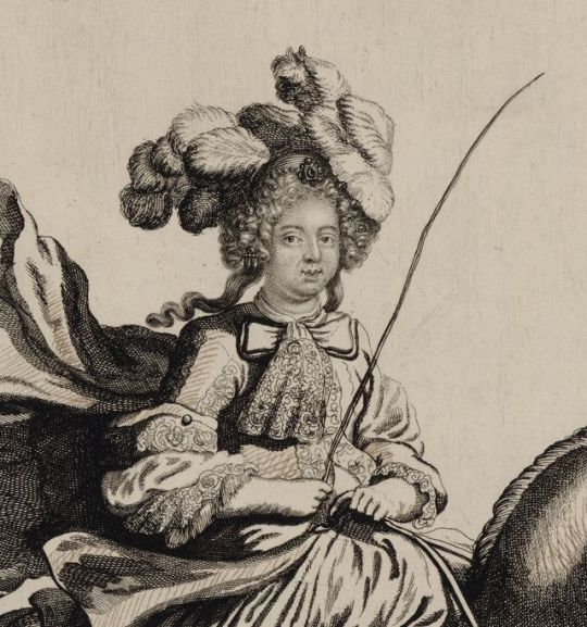 Detail of an engraving showing Maria Theresa of Spain, Queen of France, riding a horse.