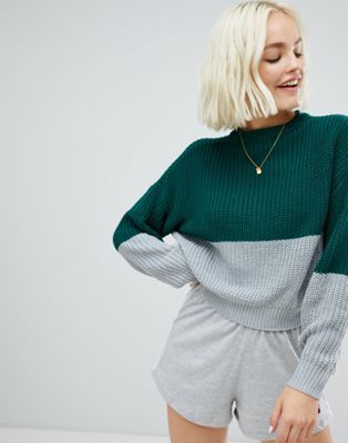 acebc24bc Pull bear color block jersey sweater in green
