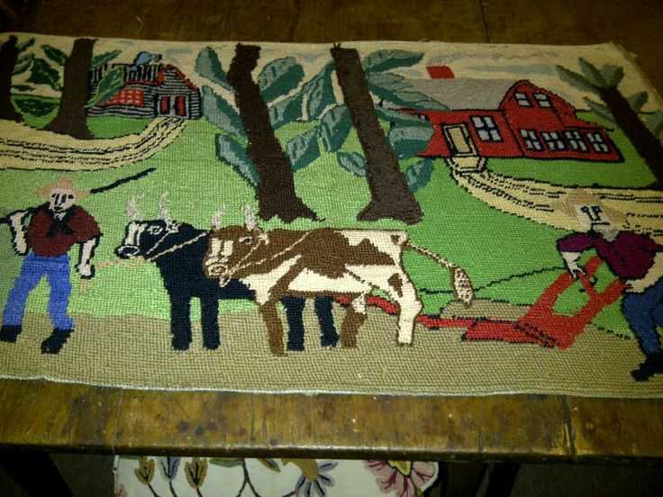 A terrific hooked rug depicting two men setting to work with a plough and two oxen. Their two homes are in the background surrounded by trees with rather large leaves! A colourful and great image. Likely about 1950. Good condition. Requires framing. For sale.