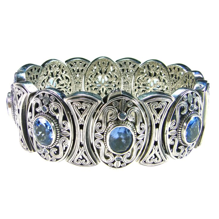 Gerochristo bracelet, sterling silver and aqua zircons