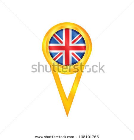 Gold pin with the national flag of United Kingdom - stock vector
