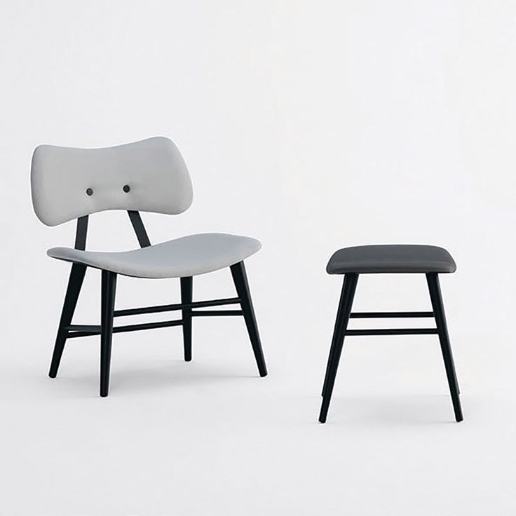 Lola in Gray | Sandler Seating. Upholstered lounge chair and stool with a natural Beech wood frame.