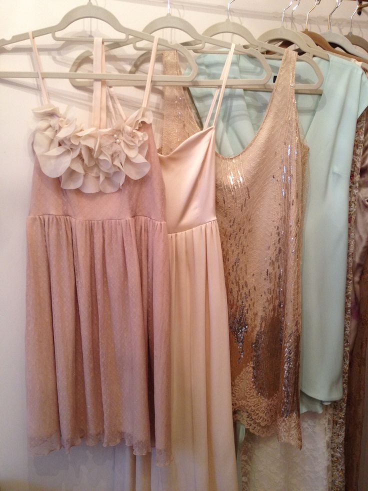 Mismatched romantic bridesmaids dresses in nude blush for Mint and gold wedding dress