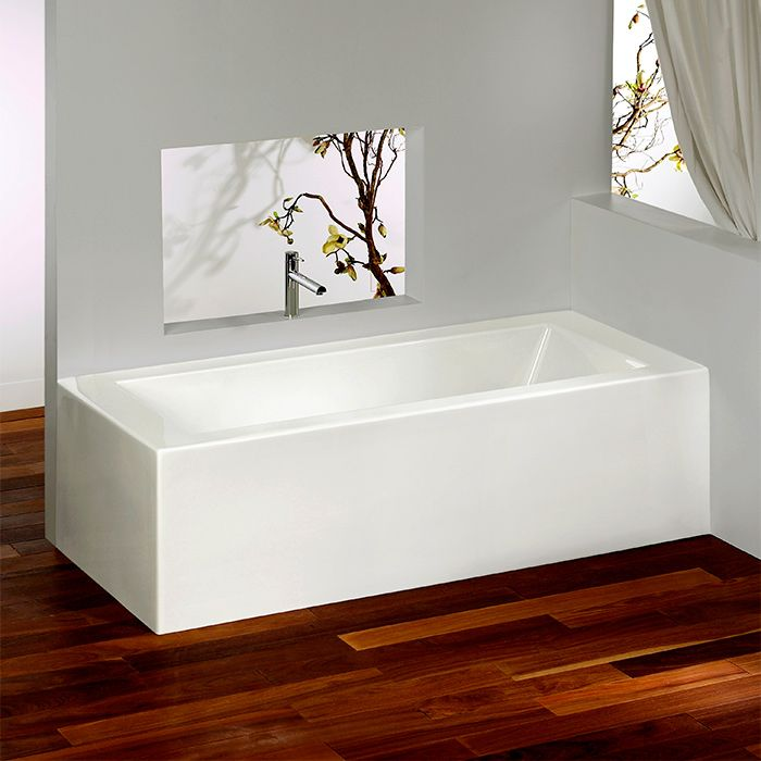 Corner bathtub with integrated tiling flanges 2 sides by Alcove / Flory De Colt Collection