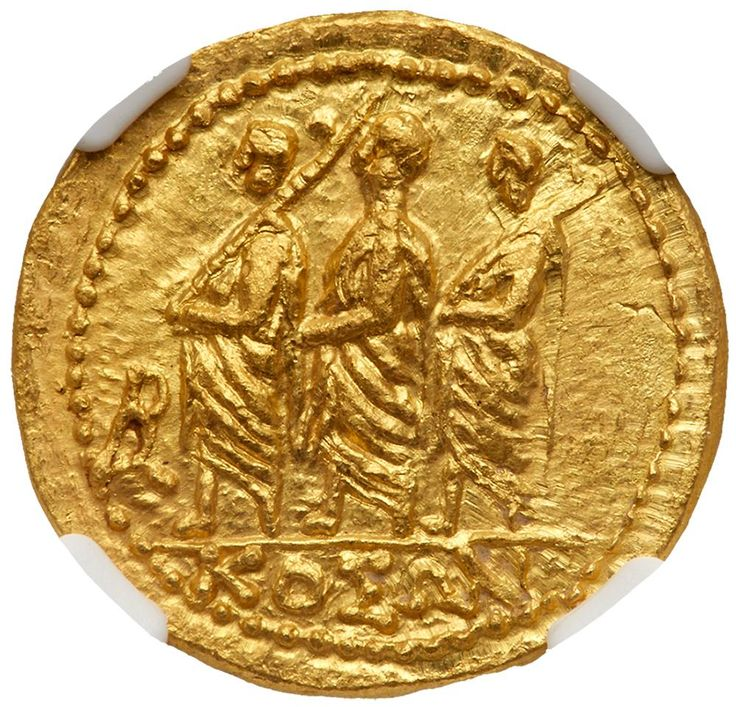 Skythia, Geto-Dacians. Koson. Gold Stater (8.38 g), mid 1st century BC KOΣΩN, Roman consul advancing left, accompanied by two lictors; in left field, monogram. Eagle with wings displayed standing left on scepter, holding wreath in talon. Iliescu 1; RPC 1701. . #Coins #Gold #Ancient #MADonC