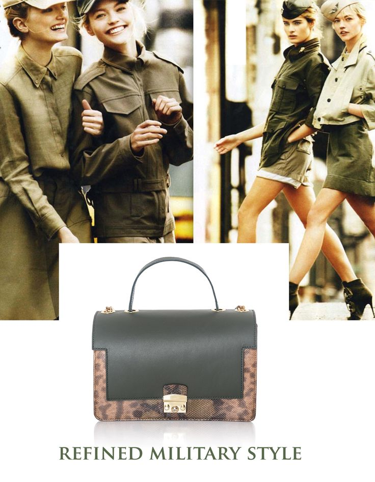The glamour military pieces from your wardrobe wouldn't look that great without the perfect luxury accessory that makes you glow with femininity even when you approach this masculine, yet wonderful style. Next to the khaki snakeskin handbag, you will definitely catch all eyes!