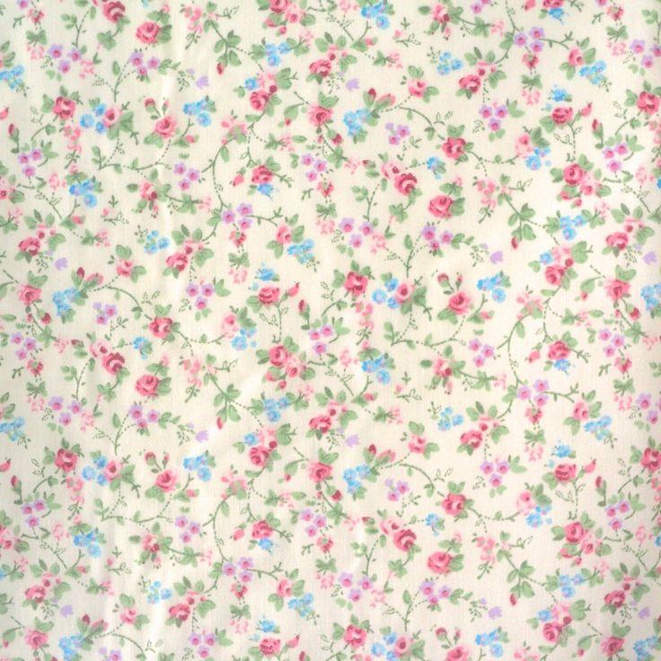 Bonnie Vintage Floral Poly Cotton - Cream - metre