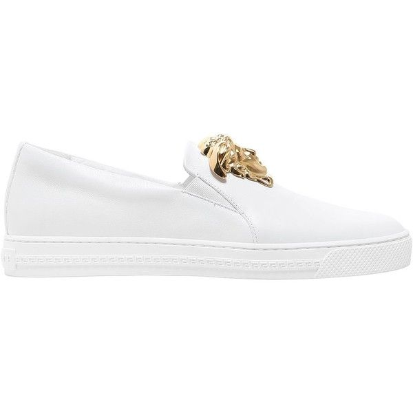 Versace Men Medusa Nappa Leather Slip-on Sneakers (19,105 MXN) ❤ liked on Polyvore featuring men's fashion, men's shoes, men's sneakers, white, mens slipon shoes, mens shoes, versace mens sneakers, mens white shoes and versace mens shoes