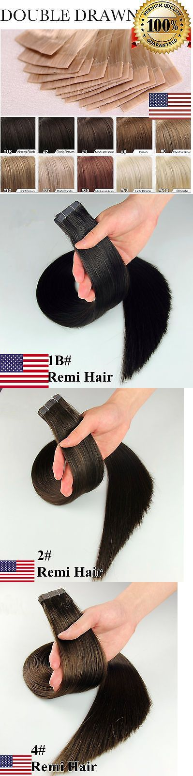 Hair Extensions: Us 7A Tape In 100% Remy Human Hair Extensions 100% Skin Weft Seamless 16 -24 -> BUY IT NOW ONLY: $52.18 on eBay!