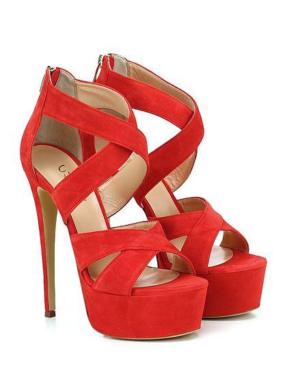 CHON - Sandalo alto - Donna - Sandalo alto in camoscio con zip su retro e suola in gomma. Tacco 145, platform 50 con battuta 95. - ROSSO - € 235.00