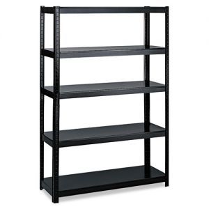"""Safco Boltless Steel Shelving, 5 Shelves, 48w x 24d x 72h, Black - Boltless shelving assembles in minutes and can be configured as a five-shelf, 72"""" high storage unit, or as a 36"""" high workbench."""