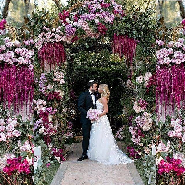 222 best the enchanted chuppah images on pinterest wedding breathtaking pink floral arrangements for a glamorous spring wedding junglespirit Choice Image
