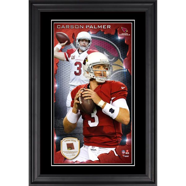 Carson Palmer Arizona Cardinals Fanatics Authentic Framed 10'' x 18'' Photograph with Piece of Game-Used Football - Limited Edition of 250 - $99.99
