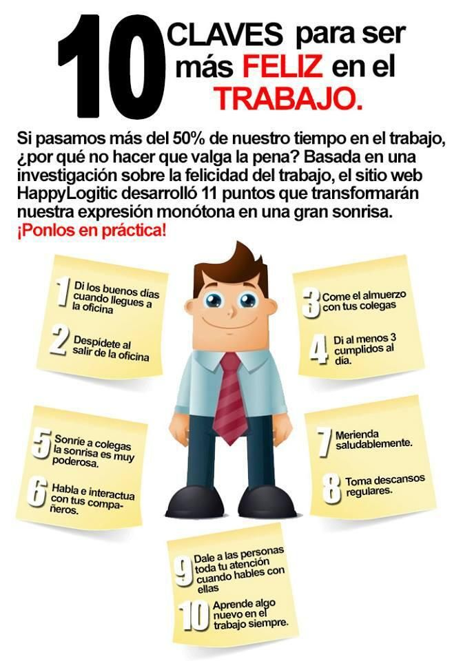 10 consejos para ser más feliz en el trabajo #infografia #infographic #rrhh