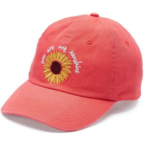 """Women's love this life """"You Are My Sunshine"""" Sunflower Baseball Cap (173.090 IDR) ❤ liked on Polyvore featuring accessories, hats, lt orange, embroidered hats, brimmed hat, adjustable baseball caps, adjustable hats and embroidered baseball caps"""