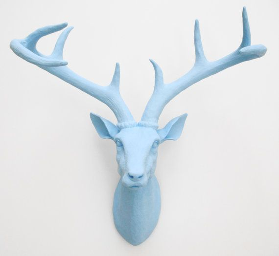 Tiffany Blue Deer Head Stag Head Faux Taxidermy par hodihomedecor, $98.00