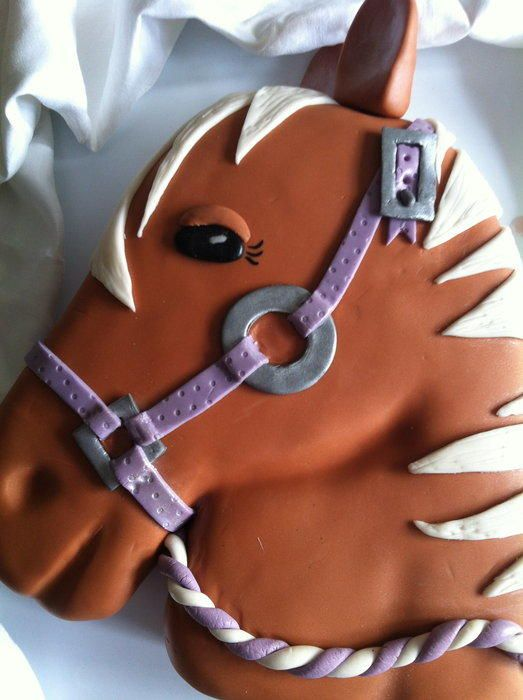 I was asked to do a Horse's head cake for a friend of my daughter's who was turning 11. I used a design by cre8acake (with her permission) and was really thrilled with how it turned out.