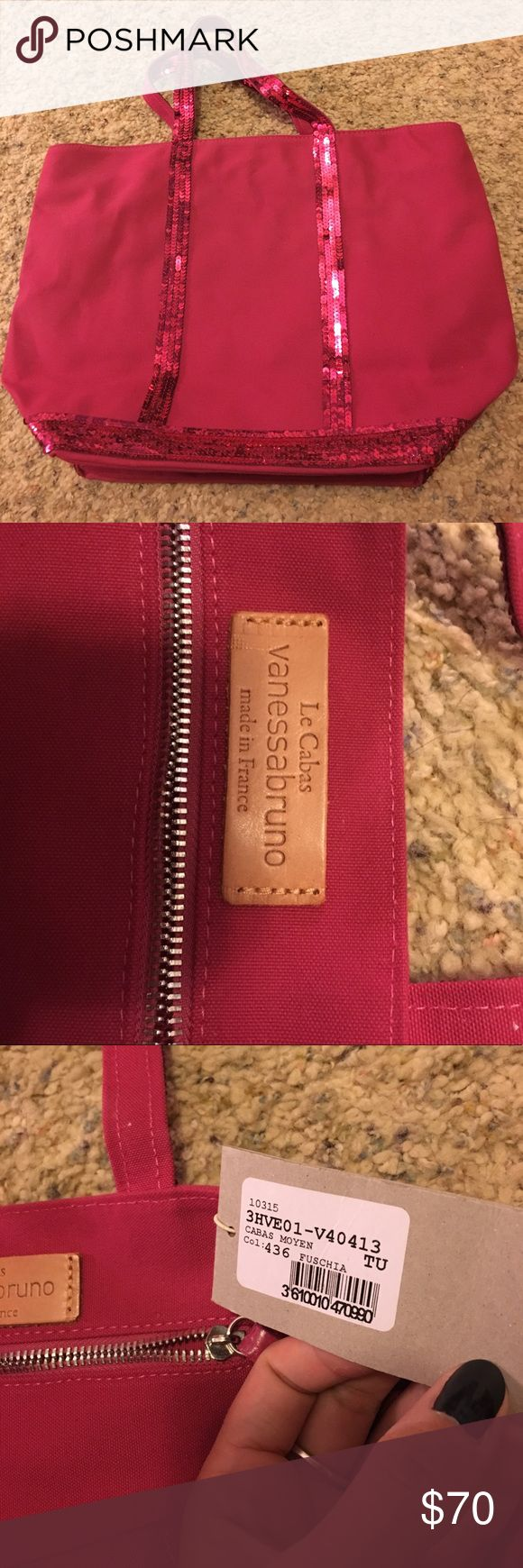 """Vanessa Bruno La Cabas Bag This is a brand new (with tags) Vanessa Bruno purse. It is fuchsia with fuchsia sequins. It can fit a 13"""" Mac with a case on as well as many other things! Open to all offers! Vanessa Bruno Bags Shoulder Bags"""
