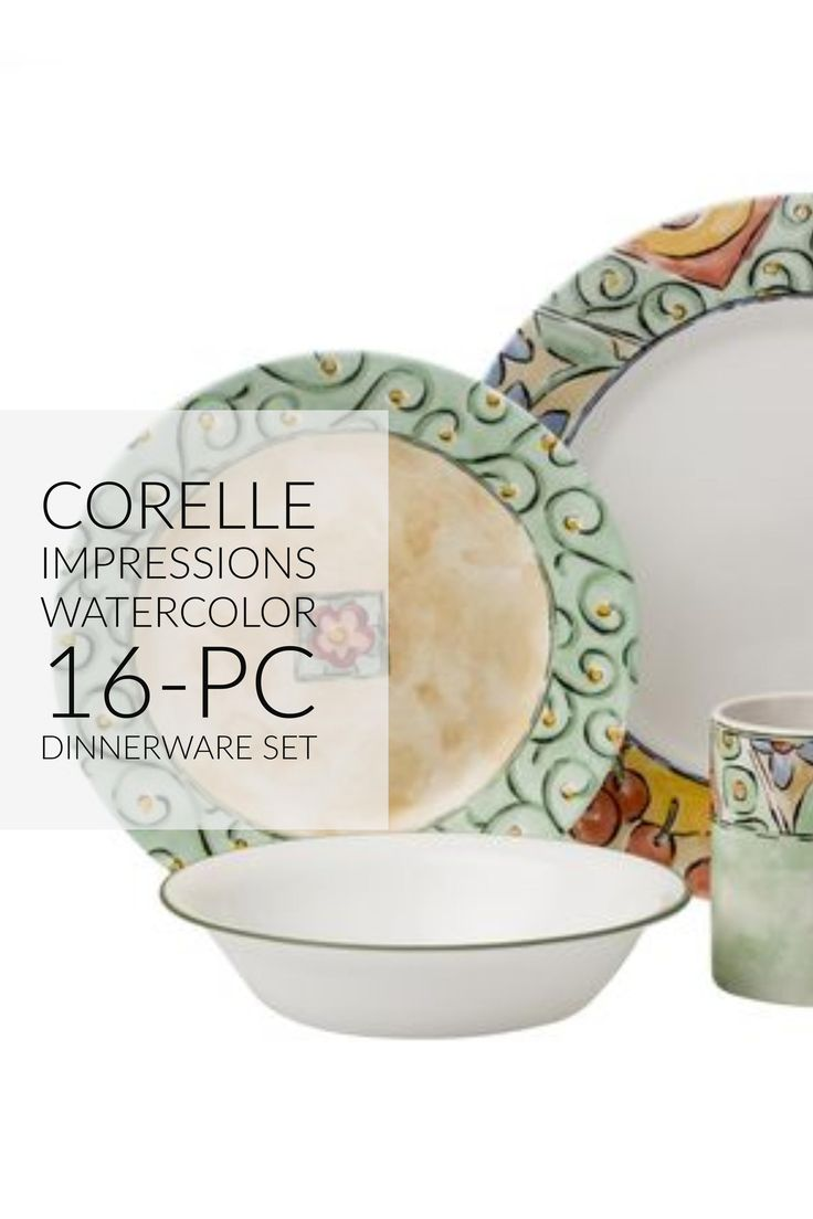 Corelle Impressions Watercolor 16-pc Dinnerware Set @thingskitchen  sc 1 st  Pinterest & 23 best Dinnerware images on Pinterest | Dish sets Dinnerware sets ...