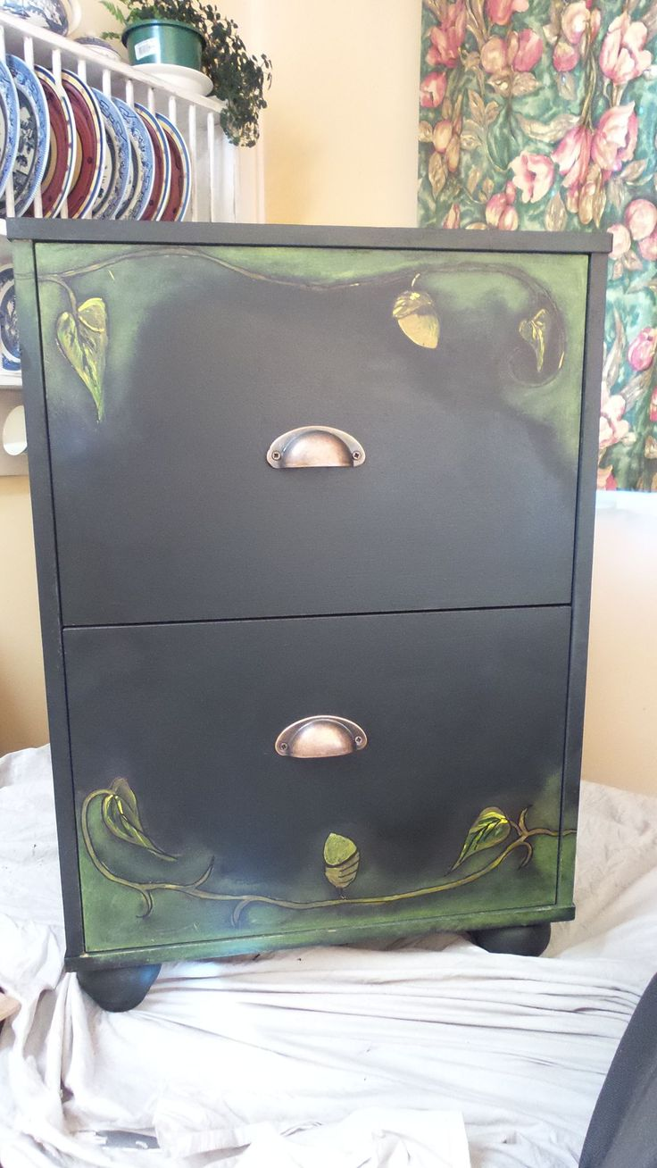 painted in blackboard paint and a lovely fantasy design using acrylic and I only clear waxed the design to protect ,