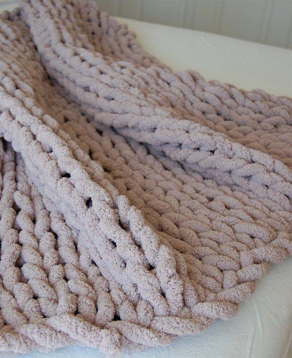 Chunky Knit Super Soft Blanket Giant Arm Knit Blanket Super Etsy Crochet For Beginners Blanket Super Soft Throw Blanket Arm Knitting Blanket