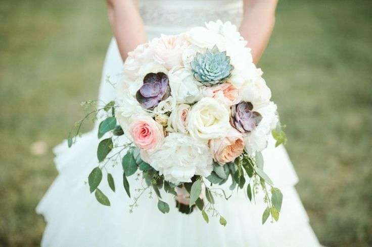 Peonies and Succulents by Cedarwood Weddings. Photo by Ulmer Studios.
