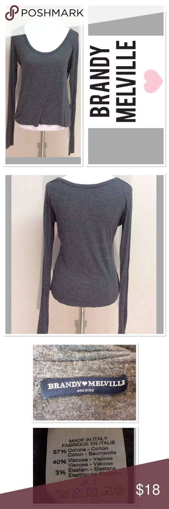 """OS BRANDY MELVILLE soft grey long sleeve top Brand: brandy Melville  Style: long sleeve scoop neck tee Size:one size Measurements: pit to pit 18"""" shoulder to hem 22"""" Material: 57% cotton 40% viscose 3% elastane  Features: made in Italy,can be worn off shoulder, soft light weight material  Condition: guc Brandy Melville Tops"""