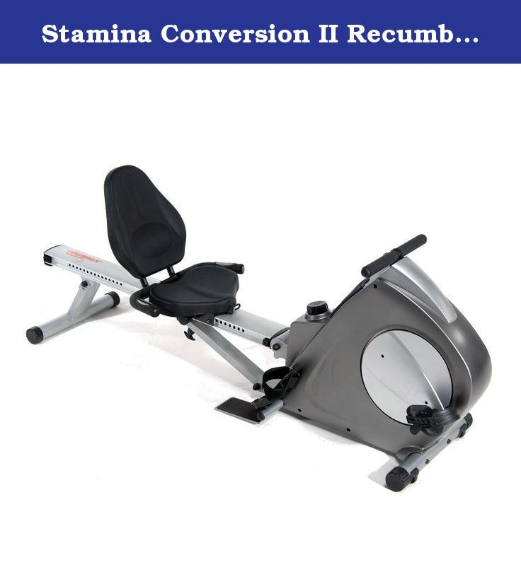 Stamina Conversion II Recumbent Bike/Rower. Doubles as a recumbent bike and a rower Additional upper body strengthening exercises including bicep curls, triceps kickbacks, forearm curls and more Attach the resistance cord under the seat for light leg presses 8 levels of smooth, quiet magnetic resistance, deluxe housing Multi-function electronic monitor is built into the housing for a sleeker design with a larger LCD display for easier reading Electronic monitor keeps you motivated by...