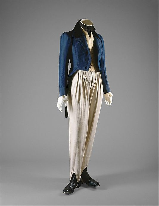 In the early years of the nineteenth century, there was a profound harmony between men's and women's silhouettes in dress.  In the Empire style, the high waists and puffed chests of menswear match the silhouette of women's clothing.  In the 1830s, menswear accommodated the gigot sleeve of womenswear in its use of a new fullness at the sleeve cap.  The typical men's ensemble of tailcoat, waistcoat, and trousers prevailed by the 1820s and 1830s, as breeches were supplanted by long trousers.