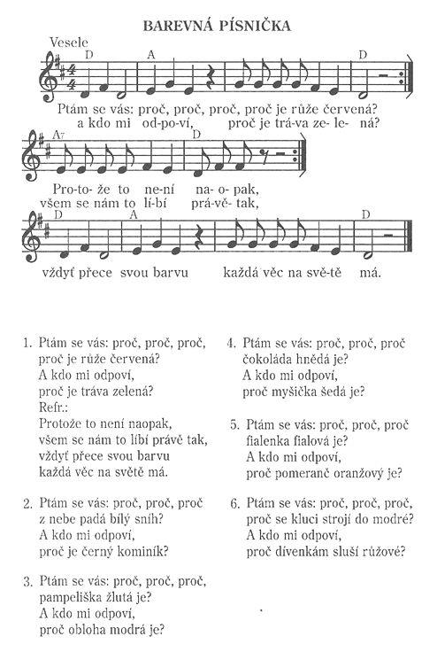 Barevná písnička | Předškoláci.cz - omalovánky, pracovní listy
