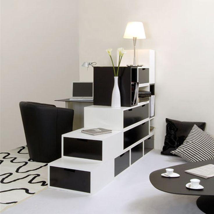 Einfache Zimmer Klare Linien Hauch Von Schwarzen Elemente Schwarz Weiß  Zeitgenössisches Design Minimalistischen Raum Und