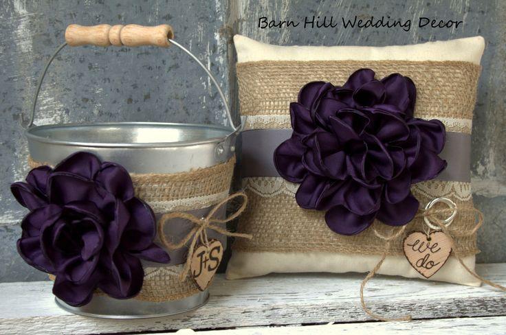 Flower Girl Basket Ring Bearer Pillow Set Plum-Eggplant Gray Lace Fall Autumn Wedding Rustic Burlap Shabby Chic Country by BarnHillWeddingDecor on Etsy