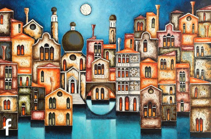 Elio De Pasco artista contemporaneo surrealista - Ritratto di Venezia - olio su tela