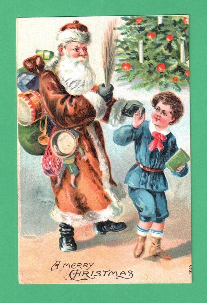 VINTAGE CHRISTMAS SANTA CLAUS POSTCARD SACK TOYS SWITCHES BOY TREE #Christmas