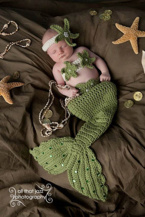 Crochet Baby Mermaid Tail Prop Sets MADE TO by CrochetbyBernadette