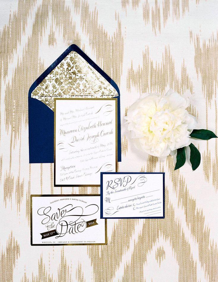 Gold and navy wedding stationery. Photography: http://momokophotography.com/ | Invitations: http://maureenhowarddesign.prosite.com/