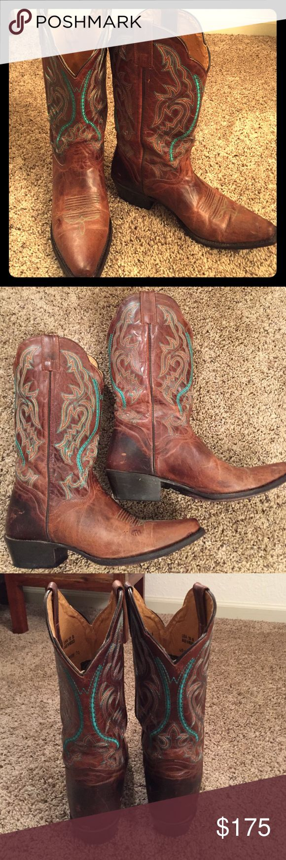 JB Dillion Teal stitching cowboy boots The turquoise stitching on these boots at a pop of color to a dark brown leather boot. Size 10 (width B). Hardly worn with only a few scuffs on the heel of the boots. These are a wardrobe must have for anyone with a country side 🎼 J. B. Dillion Shoes Heeled Boots