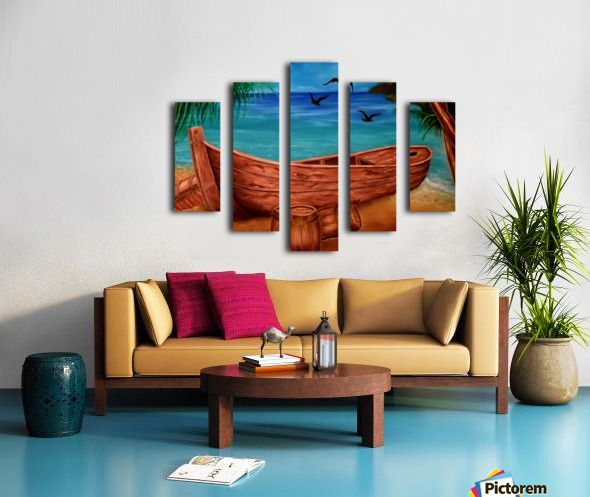 Polyptych, boat,painting,coastal,scene,nautical,marine,piratic,tropical,blue,beautiful,images,contemporary,modern,wall,art,awesome,cool,artwork,for,sale,home,office,decor,fine,oil,sea,shore,beach,old,wooden,palmtrees,island,sandy,summer,multicolor,colorful,items,ideas,panels,stretched,split,canvas